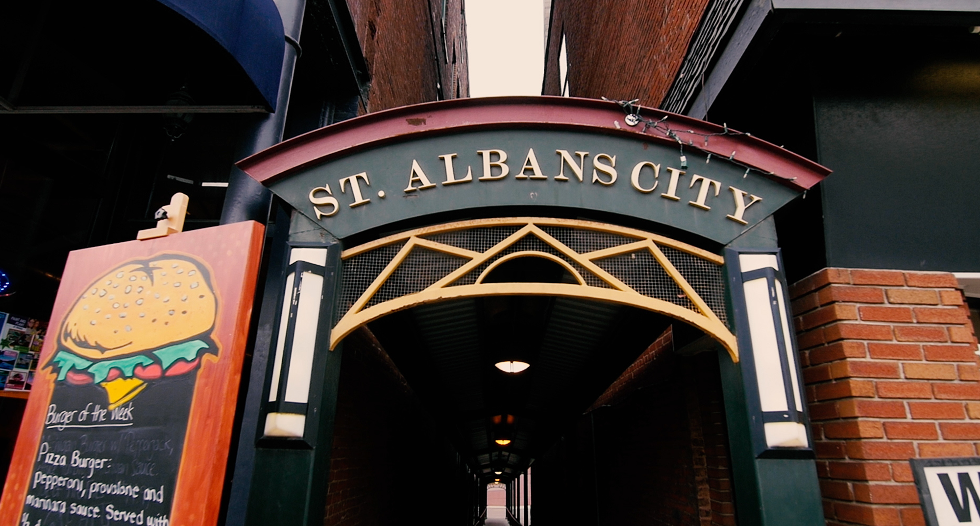 "Metal banner that says ""St. Albans City"""