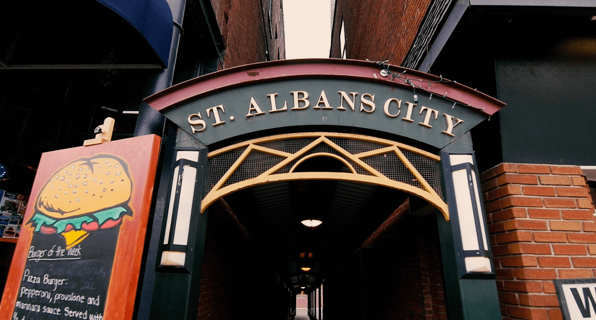 Metal banner that says St. Albans City