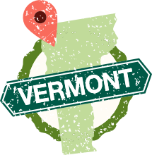 Vermont map with location pin